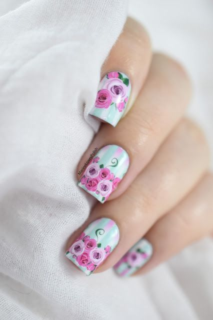 Marine Loves Polish: Happy Valentine's Day! - What's up nails P027 water decals - floral nails - manucure saint valentin
