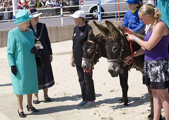 The Queen meets donkeys at Weymouth