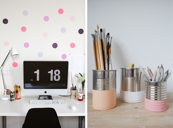 diy home office - painted  pastel tins