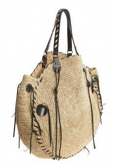 Red Crow Raffia Bag