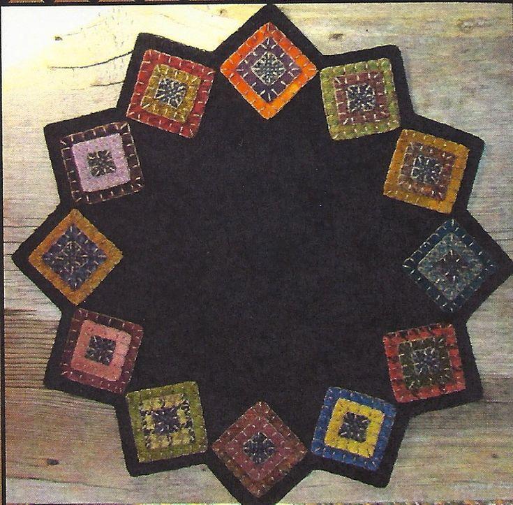 Primitive Folk Art Wool Applique Pattern SQUARED UP Table