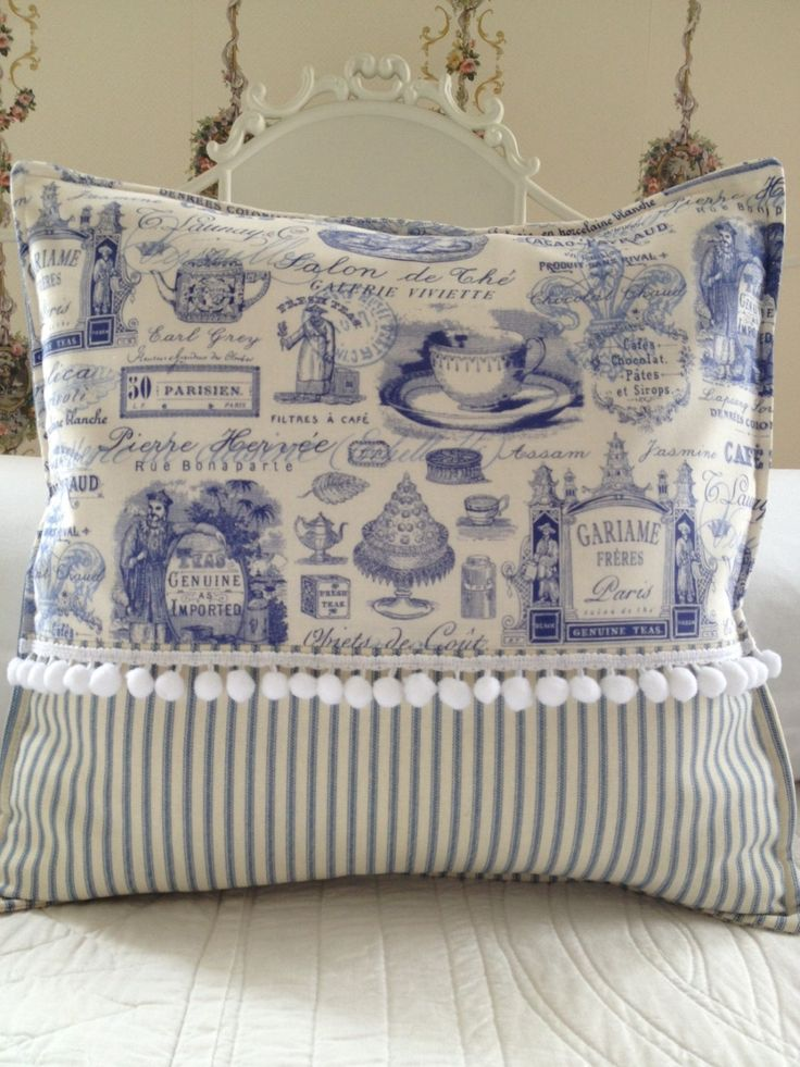 French Country Pillow Cover, Shabby Chic Pillow Cover, Paris Blue Toile Pillow Cover, Blue Ticking Pillow Sham,. $49.00, via Etsy.