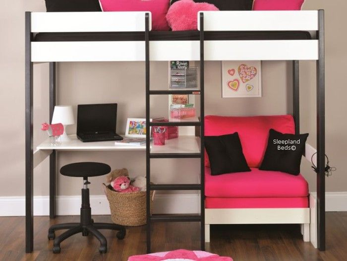 Stompa Uno 5 Nero Bed - Black And White Highsleeper Desk Shelves Chair