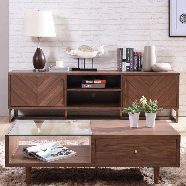 Akan Chevron Modern Walnut Tv Stand Features A Sleek Walnut Veneer Finish Equipped W Modern Furniture Living Room Tv Stands And Entertainment Centers Furniture #tv #in #middle #of #living #room