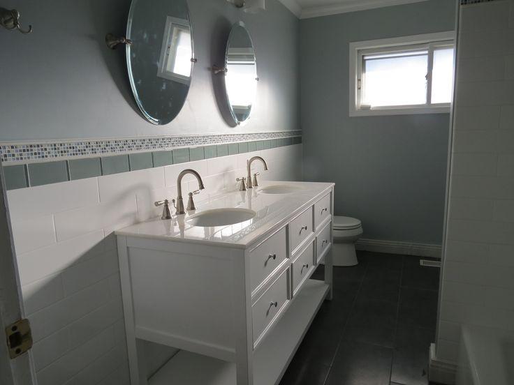 Sink Vanity Tile Wainscoting Bathroom Pinterest