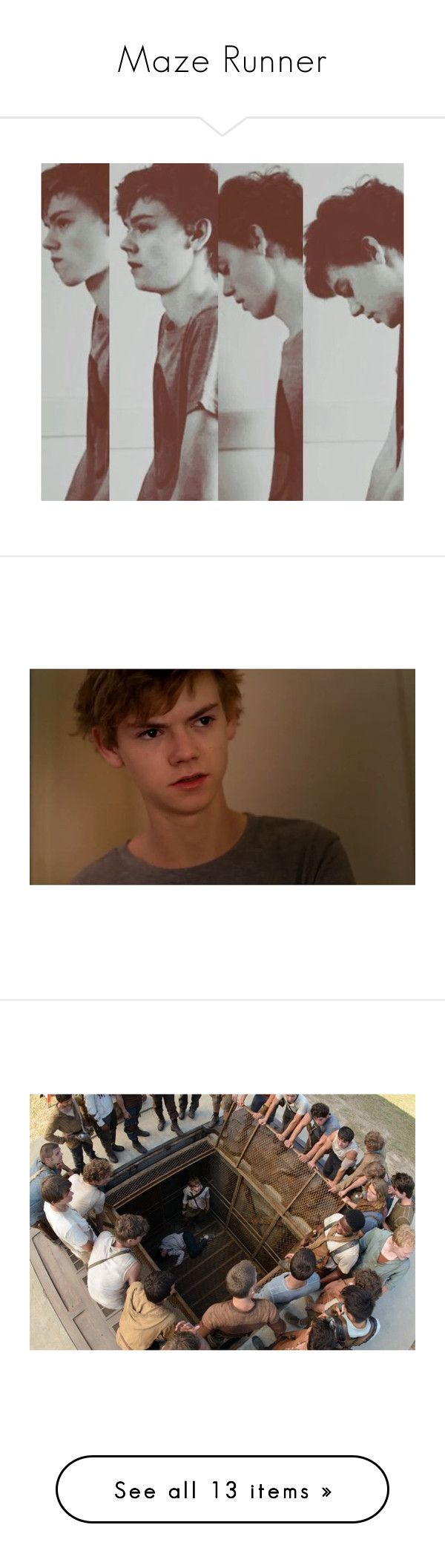 """""""Maze Runner"""" by slytherin-for-life ❤ liked on Polyvore featuring thomas brodie sangster, people, the maze runner, thomas sangster, maze runner, fandoms, pictures, backgrounds, art and quotes"""