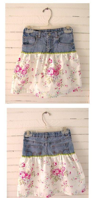 jean refashion to a skirt by Ravein