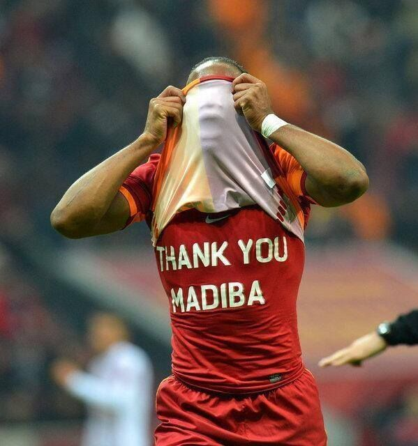 Ivory Coast and Galatasary soccer player Didier Drogba pays tribute to Tata after his soccer match tonight.(6 Dec 2013)