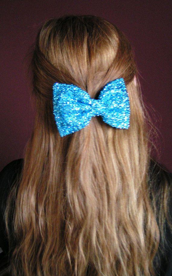 Aqua blue metalic Hair Bow Large hair bow by ClipaBowBoutique!