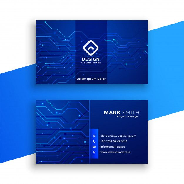 Blue Technology Style Business Card Free Vector Marketing Business Card Digital Business Card Free Business Cards