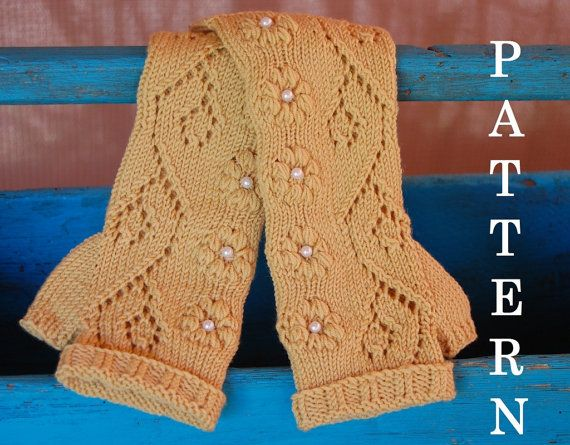 Lace Arm Warmers Knitting Pattern : Pdf Crochet Pattern Fingerless Lace Mittens Gloves Armwarmers Lace Apps Dir...