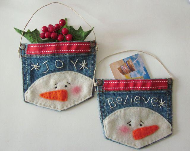 Snowman Denim Ornament/Gift Card Holder!