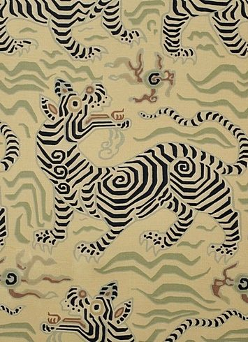 """Clarence House Tibet Print 2 Antique -  •Width: 54"""" •Vertical Repeat: 30 1/4"""" •Horizontal Repeat: 18"""" •Content: 100% Linen •MARTINDALE 16,000 CYCLES •Country of Origin AUSTRIA"""