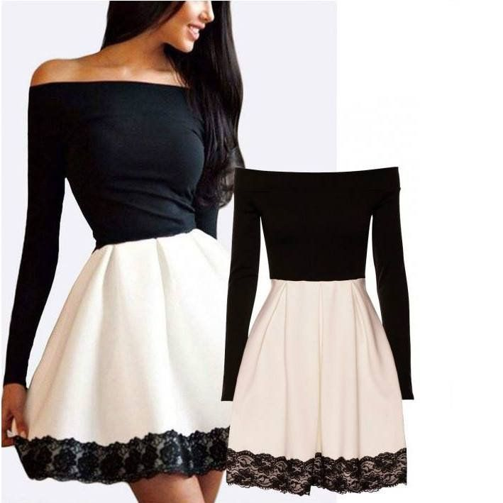 Womens skater lace trim occasion dress