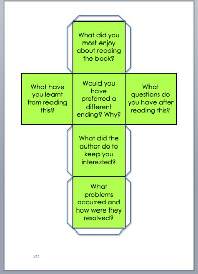 Mrs. Price:  Reading Dice  Use this dice after reading to answer queations