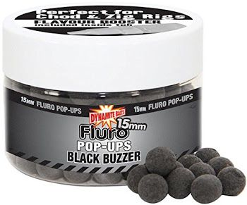 Dynamite Baits Boilies Fluro Pop-Ups - 15mm, Black Buzzer Carp Baits