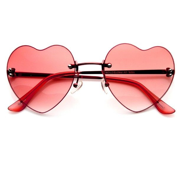 Cute Summer Colorful Heart Shape Womens Sunglasses 8797 ($7.50) ❤ liked on Polyvore featuring accessories, eyewear, sunglasses, heart glasses, rimless sunglasses, rimless glasses, heart shaped glasses and heart shaped sunglasses