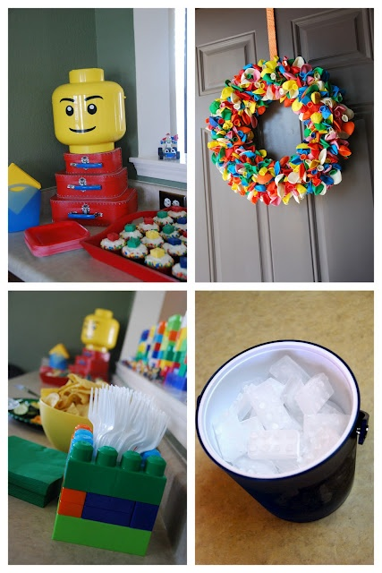I love the silverware holder on the bottom left. I will make a few of those for the party. #LegoDuploParty