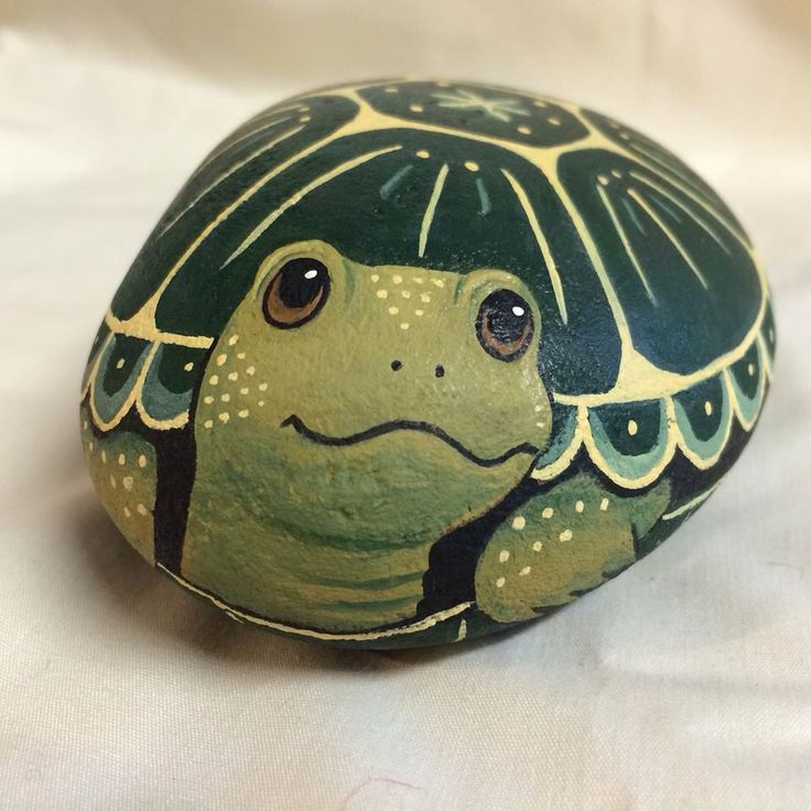 Sweet Turtle Acrylic on Stone