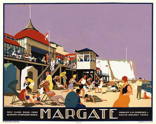Vintage Margate England Art Deco 1920s Posters Art Prints