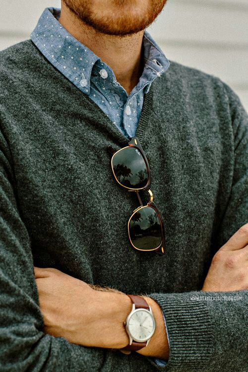 classic menswear - charcoal vneck cardigan, dotty chambray, sunglasses and watch via www.stayclassicblog.com