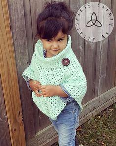 Ravelry: Child's Cowl Neck Poncho pattern by Christine Kasprzak