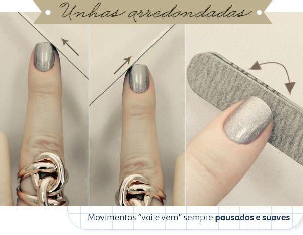 Com a lixa na diagonal você deixa as unhas redondinhas: