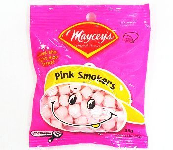 Mayceys Pink Smokers 35g, AU$1.00 per bag plus postage from Kiwi Shop Online (price correct as at 19.09.17)