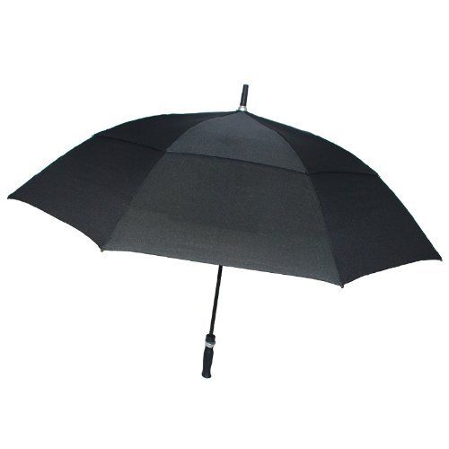 London Fog Luggage Auto Open Golf Umbrella, Black, One Size London Fog. $23.99. Auto open. 62 inch arc canopy. Ergonomic rubber grip handle and rubber end tip. Heavy duty fiberglass shaft and ribs. 100% Polyester. Superior water repellent fabric