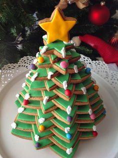 Árbol de Navidad de galletas para decorar con fondant y glasa Cookies Christmas tree