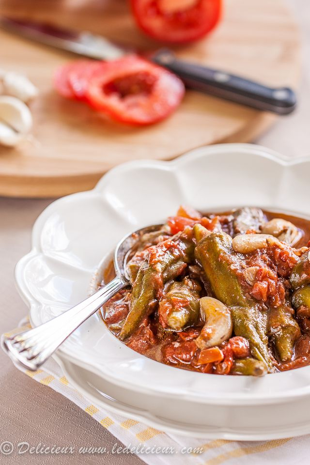 Okra and Tomatoes This Middle Eastern recipe for a delicious vegan for okra stew with tomatoes and garlic is based on Bamia bil zeit.