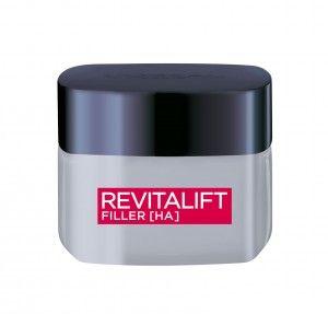 REVITALIFT FILLER [HA] – L'Oréal Paris  Diese Creme enthält eine hohe Konzentration an Hyaluronsäure für einen optimalen Aufpolsterungs-Effekt von Falten und Haut. Angereichert mit Fibroxyl, einem Wirkstoff natürlichen Ursprungs, unterstützt die Formel einen kontinuierlichen Volumen-Effekt für die Haut. Tag für Tag wirkt die Haut aufgepolsterter und widerstandskräftiger für eine erfrischte und sichtbar jugendlichere Haut. Gesehen um € 19,95.