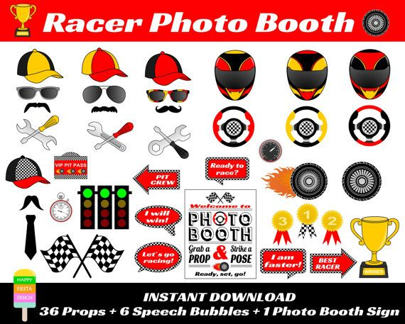 PRINTABLE Racer  Photo Booth PropsPhoto Booth by HappyFiestaDesign
