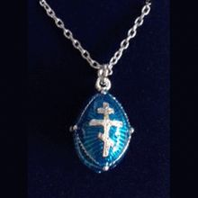 Large handcrafted 925 sterling silver orthodox cross pendant with blue egg pendant with russian orthodox cross aloadofball Images