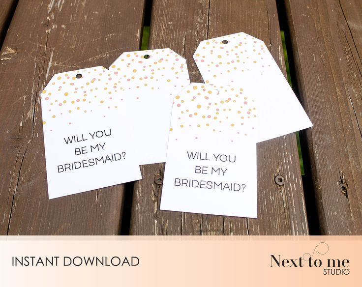 INSTANT DOWNLOAD - Will you be my bridesmaid? Tags - Wine tags - Gift tags _ wedding_ Gift _ Dots Pattern _ SKU: BMB_17 by NextToMeStudio on Etsy