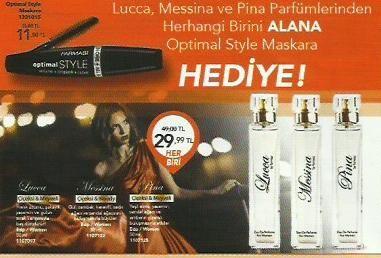 Lucca Messina ve Pina Parfümlerinden Herhangi Birini ALANA Optimal Style Maskara HEDİYE.  http://www.farmasi.peacocksem.com/