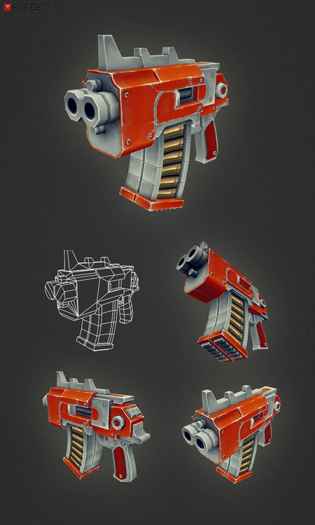 Low Poly Fantasy Gun 05  Well, the fifth gun in the low poly gun series is done! Didn't quite make it last night, took a little longer then expected. :)
