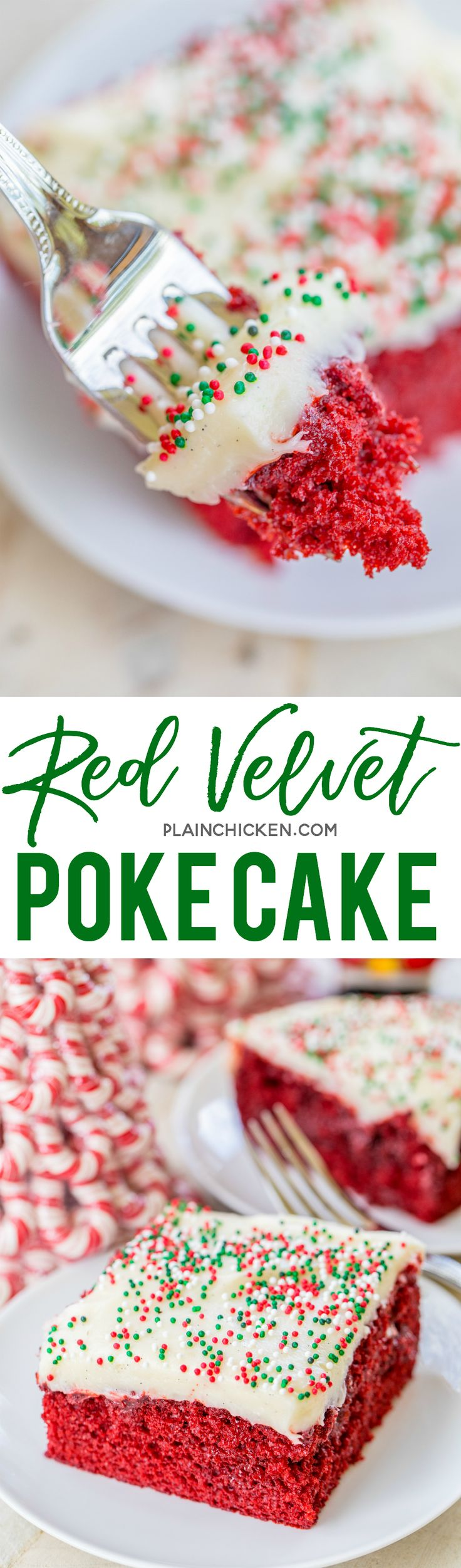 Red Velvet Poke Cake - red velvet cake soaked in sweetened condensed milk and chocolate and topped with a quick homemade cream cheese frosting. SO good! Great for potlucks and the holidays.  | Posted By: DebbieNet.com