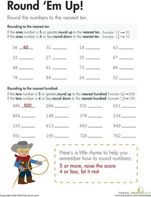 Round 'Em Up! Kids learn how to round to the nearest ten and the nearest hundred on this third grade math worksheet.