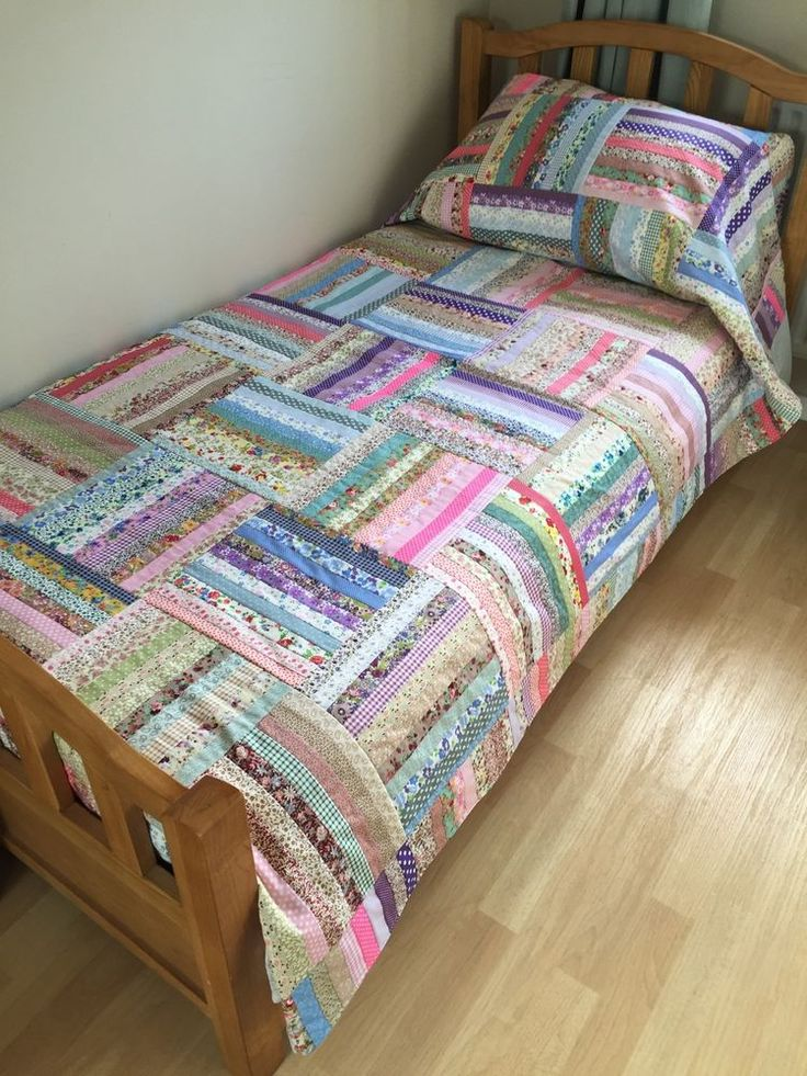 Handmade Patchwork Quilt, Gorgeous! Oversized Single, Throw, Bed, Shabby Chic