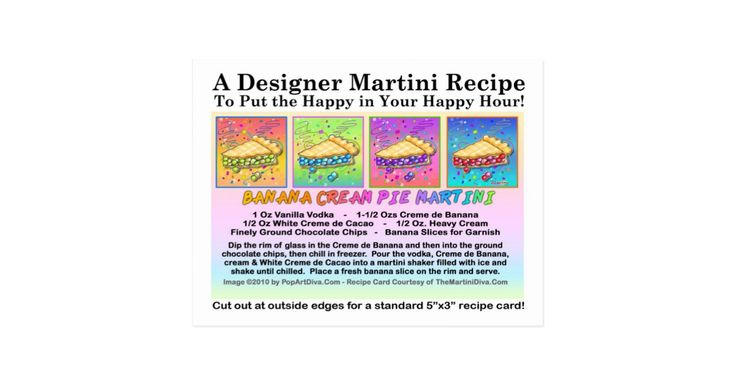 Recipe card for the Banana Cream Pie Martini by The Martini Diva. Mixing and garnishing instructions for a vanilla vodka based pie inspired banana and chocolate flavored dessert martini cocktail.