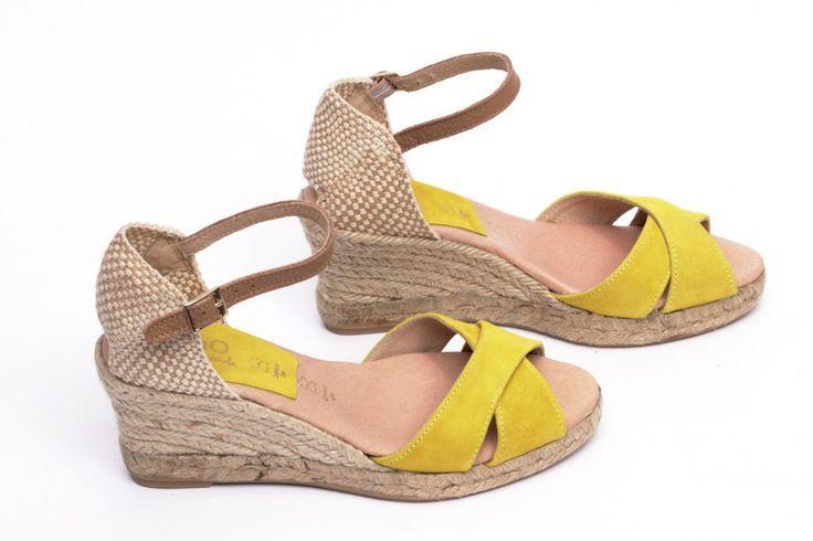 miMaO Esparto M Limón – Sandalias mujer tacón cuña cómodo color amarillo piel ante yute- Comfort women's sandals heel wedge espadrilles lemon yellow suede leather