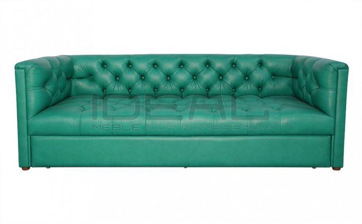 Sofy Stylowe - Sofa Chesterfield London Z Pojemnikiem W Skórze - Ideal Meble Głęboko pikowana zielona, turkusowa sofa (green, turquoise)