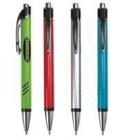 Plastic click-action ballpoint pen with chrome trims, starting at $0.75