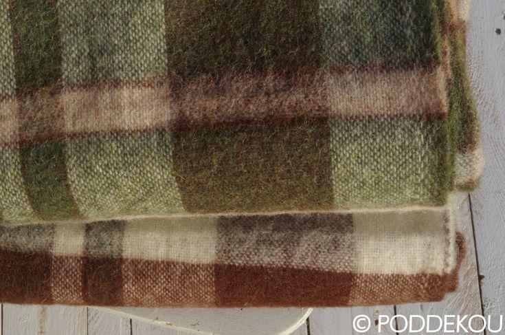 Károvaná deka zeleno hnedá / Kvalitná deka z alpaky zeleno hnedé káro