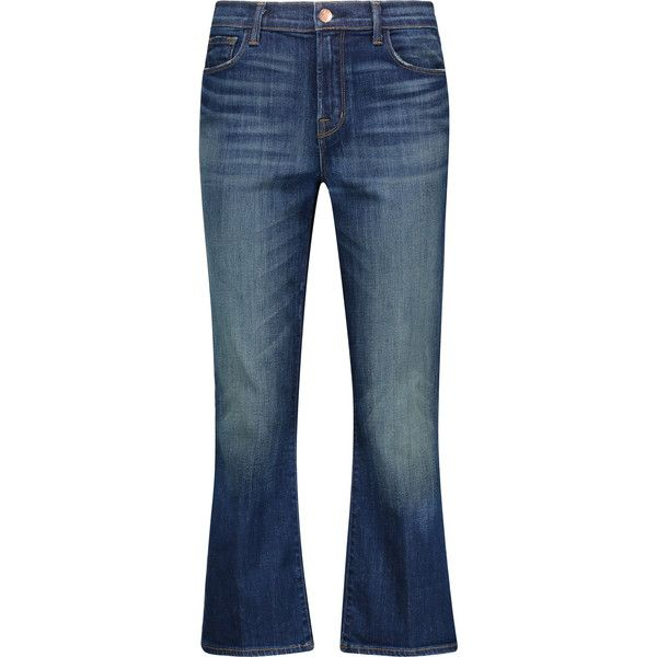 J Brand - Helena High-rise Cropped Bootcut Jeans ($114) ❤ liked on Polyvore featuring jeans, blue, blue skinny jeans, boot cut jeans, high waisted bootcut jeans, high rise skinny jeans and high waisted blue jeans