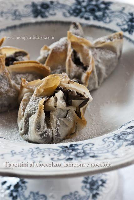 Mon petit bistrot: Fagottini di pasta fillo al cioccolato, lamponi e nocciole