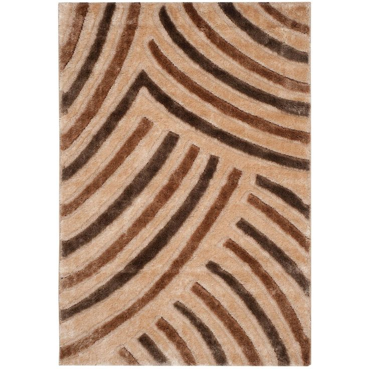 Safavieh Miami Shag Contemporary Silken-Embossed Beige/ Brown Shag Rug (4' x 6'), Size 4' x 6' (Polyester, Abstract)