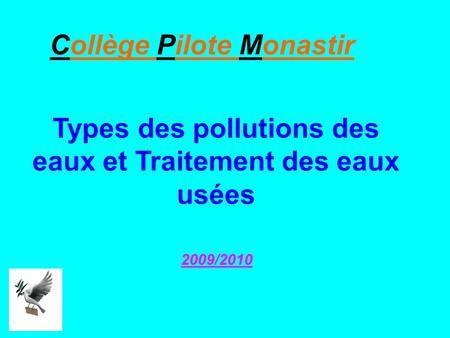 Types des pollutions des eaux et Traitement des eaux usées