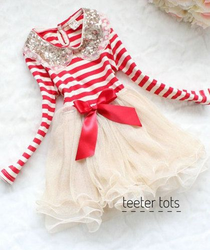 Toddler Girls Dress // Girls Red Striped Fancy by shopteetertots, $34.99